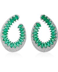 Hueb | Mirage 18k White Gold, Diamond And Emerald Earrings | Lyst