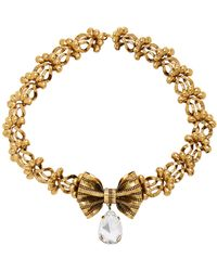 Rodarte - Antique Gold Bow And Floral Chain Necklace - Lyst