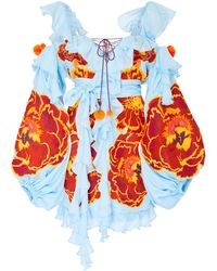 Yuliya Magdych - Marigold Embroidered Cotton And Silk Romper - Lyst