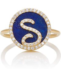 Names by Noush - Treasure Disk Roman Initial Ring With Lapis Lazuli Gemstone - Lyst