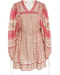 Zimmermann - Juniper Rioting Paisley Cotton Mini Dress - Lyst