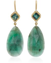 Jamie Wolf - 18k Gold, Emerald, And Diamond Mosaic Green Tourmaline Earrings - Lyst