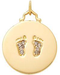 Monica Rich Kosann - M'onogrammable Script 18k Yellow Gold And Diamonds Baby Feet Charm - Lyst