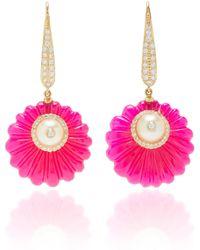Hanut Singh - 18k Yellow Gold, Red Onyx, Pearl And Diamond Flower Discette Drop Earrings - Lyst