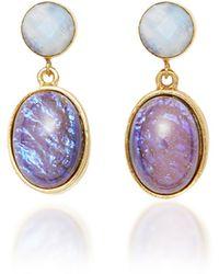 Brinker & Eliza Night Owl Gold-plated Glass And Moonstone Earrings - Purple