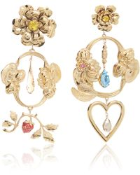 Rodarte - Gold Baroque Floral And Heart Dangle Earrings With Swarovski Crystal Details - Lyst