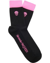 Alexander McQueen - Ribbed Cotton-blend Socks - Lyst