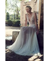 Costarellos Bridal - Plunging Neck Beaded Chantilly Lace Dress - Lyst