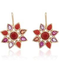 She Bee - 14k Gold, Coral, And Sapphire Flower Earrings - Lyst
