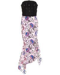 Christian Siriano - Floral Sequin Embroidered Asymmetrical Hem Dress - Lyst