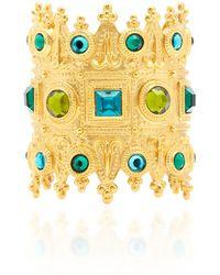 Ben-Amun - Gold-plated Brass Crystal Cuff Bracelet - Lyst