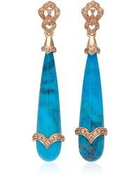 Sara Weinstock - 18k Gold, Turquoise And Diamond Earrings - Lyst