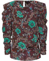 Isabel Marant - Draped Printed Stretch-silk Blouse - Lyst