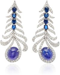 Sutra - 18k White Gold, Tanzanite And Blue Sapphire Earrings - Lyst