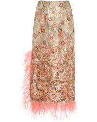 Prabal Gurung - Sequin-embellished Jacquard Feather-trimmed Pencil Skirt - Lyst