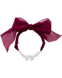 Fallon - Crystal Embellished Tuxedo Bow Choker Necklace - Lyst