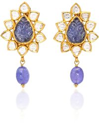 Sanjay Kasliwal - 22k Gold, Tanzanite And Diamond Earrings - Lyst