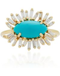 Suzanne Kalan - 18k Gold, Turquoise And Diamond Ring - Lyst