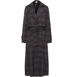 Vince - Plaid Belted Twill Trench Coat - Lyst