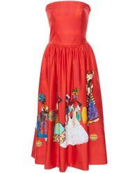 Stella Jean - Strapless Midi Dress - Lyst