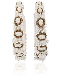 Ranjana Khan   M'o Exclusive White Beaded Hoop Earrings   Lyst