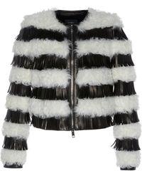Giambattista Valli - Cropped Kalgan Fur Coat With Leather Fringe - Lyst
