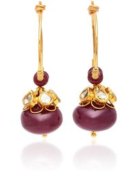 Sanjay Kasliwal - 22k Gold, Ruby And Diamond Earrings - Lyst