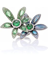 Wendy Yue - Tsavorite And Sapphire Flower Ring - Lyst