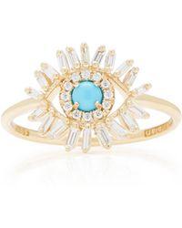 Suzanne Kalan - 18k Gold Diamond Turquoise Ring - Lyst