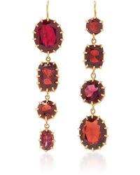 Renee Lewis - Antique 18k Gold And Garnet Earrings - Lyst