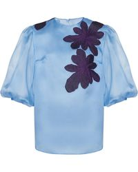 Costarellos - Embroidered Silk Organza Blouse - Lyst