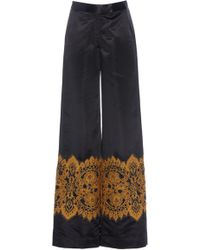 Rahul Mishra - Patched Lace Satin Pant - Lyst