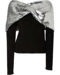 Monse - Embellished Twist Shawl Sweater - Lyst