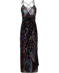 Attico - Metallic Striped Lamé Midi Dress - Lyst