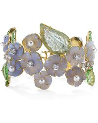 Irene Neuwirth - One-of-a-kind 18k Gold Carved Chalcedony And Tourmaline Bracelet - Lyst