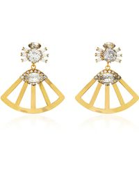 Nicole Romano - Fanned Lotus 18k Gold-plated Crystal Earrings - Lyst