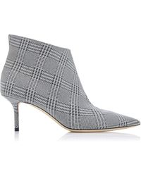 Jimmy Choo - Marinda Glittered Plaid Leather Ankle Boots - Lyst