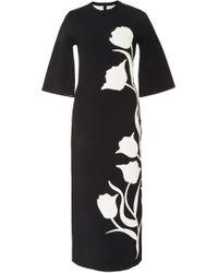 Carolina Herrera - Long Sleeve Tulip Jacquard Midi Dress - Lyst