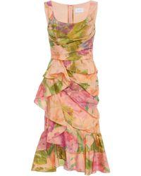 Marchesa - Draped Silk-taffeta Midi Dress - Lyst