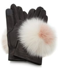 Maison Fabre - Pom Pom-embellished Leather Gloves - Lyst