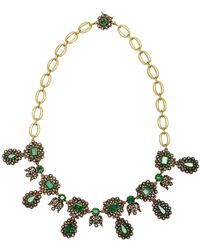 Sylva & Cie - 18k Gold, Emerald And Diamond Necklace - Lyst