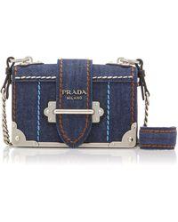 Prada - Cahier Leather-trimmed Denim Shoulder Bag - Lyst