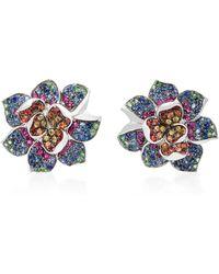 Colette | 18k White Gold Multi-stone Earrings | Lyst