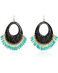 Ashley Pittman - Vuka Horn, Bronze And Turquoise Earrings - Lyst