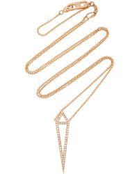 Eva Fehren - Dagger 18k Rose Gold And Diamond Pendant Necklace - Lyst