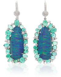 Nina Runsdorf - Blue Australian Opal With Emerald Earrings - Lyst