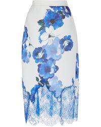 Costarellos - Printed Crepe Midi Skirt - Lyst