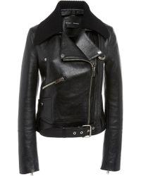 Proenza Schouler - Knit Collar Leather Moto Jacket - Lyst