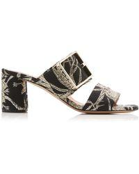 Rochas - Buckled Metallic Brocade Sandals - Lyst