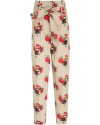 Adam Lippes - Printed Paper Bag Waist Cotton Trousers - Lyst
